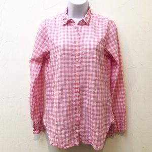 J. Crew ~ Pink/White Plaid Button-Up Shirt Size 4